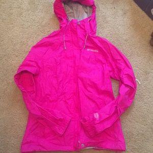 Hot pink Columbia rain coat